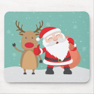 Alfombrilla De Ratón Papá Noel y reno muy lindos el   Mousepad