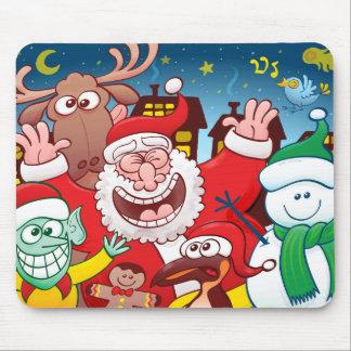 Alfombrilla De Ratón Papá Noel y su equipo están listos para el navidad