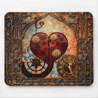 Alfombrilla De Ratón Papel pintado de los corazones de Steampunk del