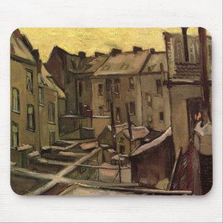Alfombrilla De Ratón Patios traseros de Van Gogh de las casas viejas,