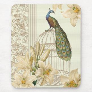 Alfombrilla De Ratón pavo real francés del birdcage del vintage del