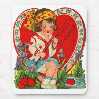 Alfombrilla De Ratón Pensamientos cariñosos de la niña de la tarjeta