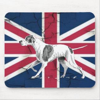 Alfombrilla De Ratón Perro inglés retro del indicador de la bandera
