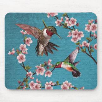 Alfombrilla De Ratón Pintura del colibrí del estilo del vintage