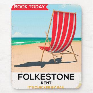 Alfombrilla De Ratón Poster de la playa del vintage de Folkestone Kent