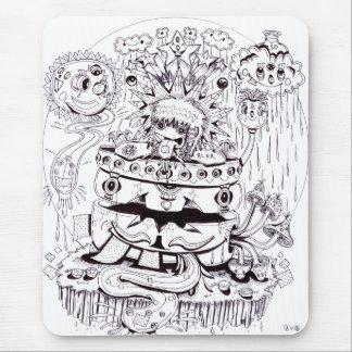 Alfombrilla De Ratón Psicodélico blanco y negro