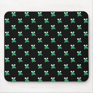 Alfombrilla De Ratón Ranas verdes en el cojín de ratón negro
