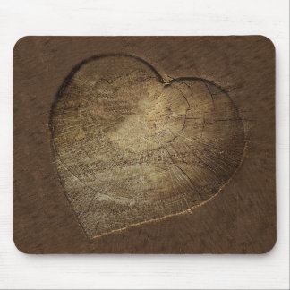 Alfombrilla De Ratón Rebanada tallada rústica del roble del corazón