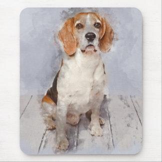 Alfombrilla De Ratón Retrato lindo de la acuarela del beagle