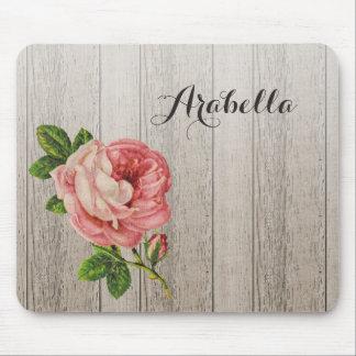 Alfombrilla De Ratón Rosa de madera resistido rústico del vintage subió