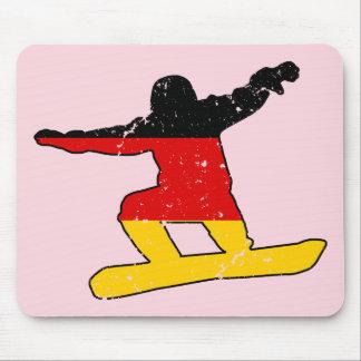 Alfombrilla De Ratón SNOWBOARDER alemán de la bandera (negro)