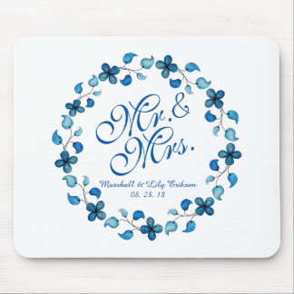 Alfombrilla De Ratón Sr. y señora Blue Watercolor Floral Wedding