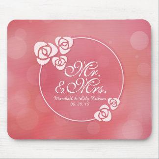 Alfombrilla De Ratón Sr. y señora Elegant Floral Frame Wedding el  
