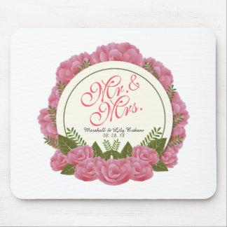 Alfombrilla De Ratón Sr. y señora Elegant Floral Frame Wedding Mousepad