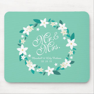 Alfombrilla De Ratón Sr. y señora Elegant Floral Wedding el   Mousepad