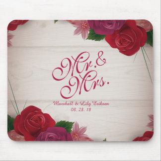 Alfombrilla De Ratón Sr. y señora Elegant Floral Wedding Mousepad
