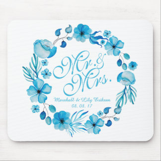 Alfombrilla De Ratón Sr. y señora Floral Watercolor Wedding el  