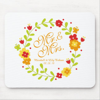 Alfombrilla De Ratón Sr. y señora Floral Wreath Cheerful Wedding