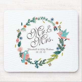 Alfombrilla De Ratón Sr. y señora Floral Wreath con los pájaros que