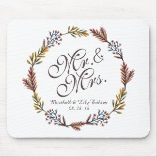 Alfombrilla De Ratón Sr. y señora Simple Floral Wedding el   Mousepad