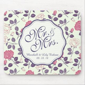 Alfombrilla De Ratón Sr. y señora Vintage Floral Wedding el | Mousepad