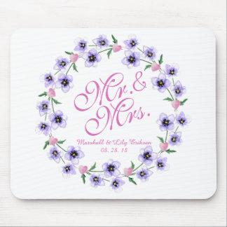 Alfombrilla De Ratón Sr. y señora Watercolor Floral Wedding Mousepad