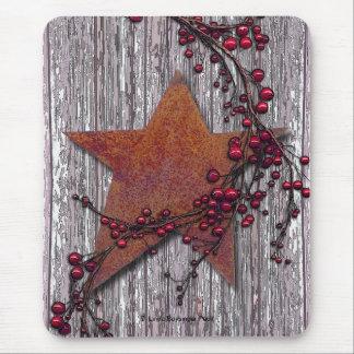 Alfombrilla De Ratón Tableros del granero con la estrella aherrumbrada
