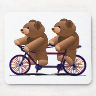 Alfombrilla De Ratón Tándem de la bicicleta, impresión del oso de