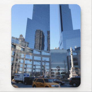 Alfombrilla De Ratón Taxi de los rascacielos del círculo NYC Nueva York