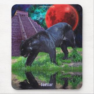 Alfombrilla De Ratón Templo negro de Jaguar y de Chichen Itza y eclipse