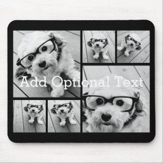 Alfombrilla De Ratón Texto opcional del collage de 6 fotos -- PUEDE