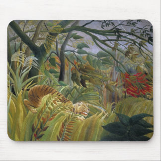 Alfombrilla De Ratón Tigre en una tormenta tropical de Henri Rousseau