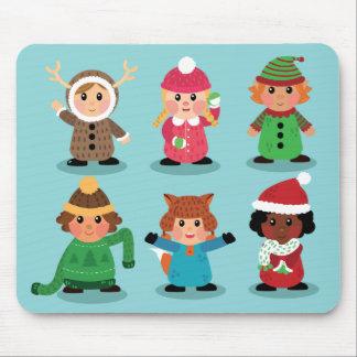 Alfombrilla De Ratón Trajes de los niños en el invierno Mousepad