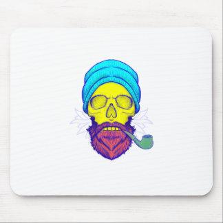 Alfombrilla De Ratón Tubo que fuma del cráneo amarillo