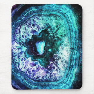 Alfombrilla De Ratón Turquesa helada bonita y cristal púrpura de Geode