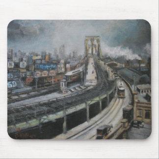 Alfombrilla De Ratón Vintage New York City que pinta el puente de