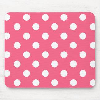 Alfombrilla De Ratón White polka dots in pink