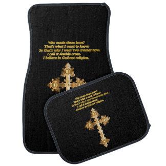 Alfombrilla Para Coche Cruz cristiana de la diversión del oro con el