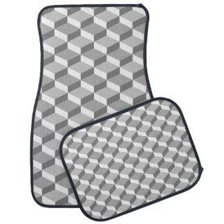 Alfombrilla Para Coche Cuadrados geométricos grises y blancos de la