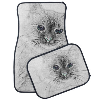 Alfombrilla Para Coche Gato siberiano del gatito Napping en la losa de