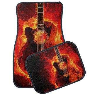 Alfombrilla Para Coche Guitarra acústica llameante impresa