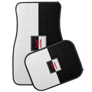 Alfombrilla Para Coche Monograma negro y blanco moderno del diseño