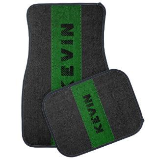 Alfombrilla Para Coche Negro y monograma de cuero cosido verde oscuro