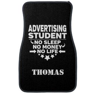 Alfombrilla Para Coche Personalizado haciendo publicidad del estudiante