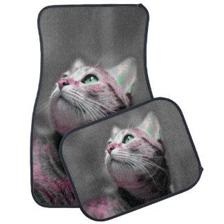 Alfombrilla Para Coche Raver de neón del gato del gatito de la máquina de