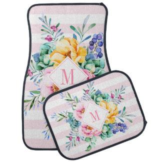 Alfombrilla Para Coche Rayas rosadas y blancas del ramo floral colorido