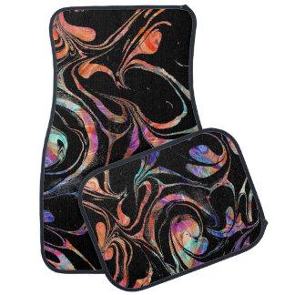 Alfombrilla Para Coche Remolinos abstractos negros y coloridos del mármol