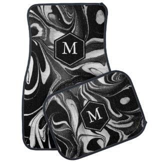 Alfombrilla Para Coche Remolinos ondulados abstractos negros y blancos