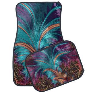 Alfombrilla Para Coche Sistema azul y púrpura del diseño de la pluma de 4