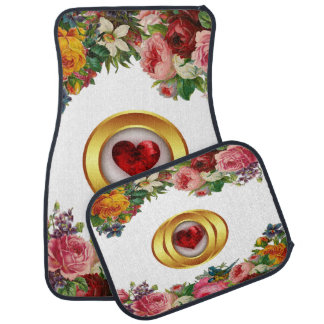 Alfombrilla Para Coche Sistema floral y rojo del diseño del corazón de 4